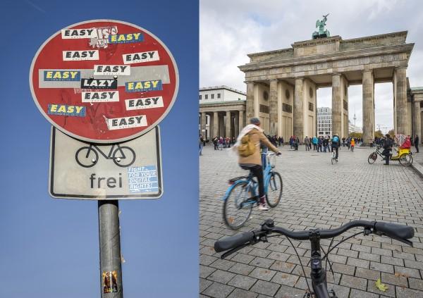 Fahrradfahren in der Stadt. Hier: Brandenburger Tor, Berlin-Tiergarten. Berlin, 23.10.2015