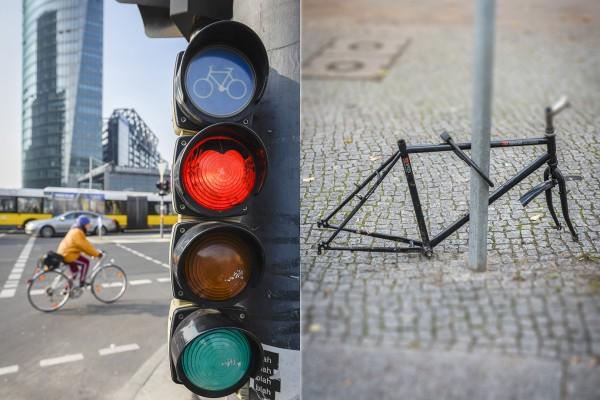 Fahrradfahren in der Stadt. Hier: Bergmannstraße, Berlin-Kreuzberg. Berlin, 23.10.2015