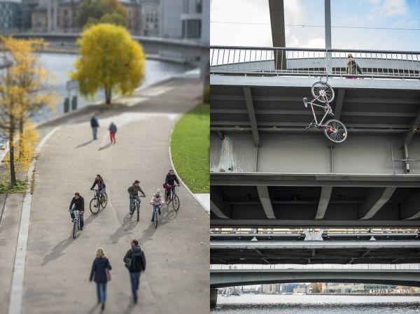 Fahrradfahren in der Stadt. Hier: Elsenbrücke. Berlin, 29.10.2015
