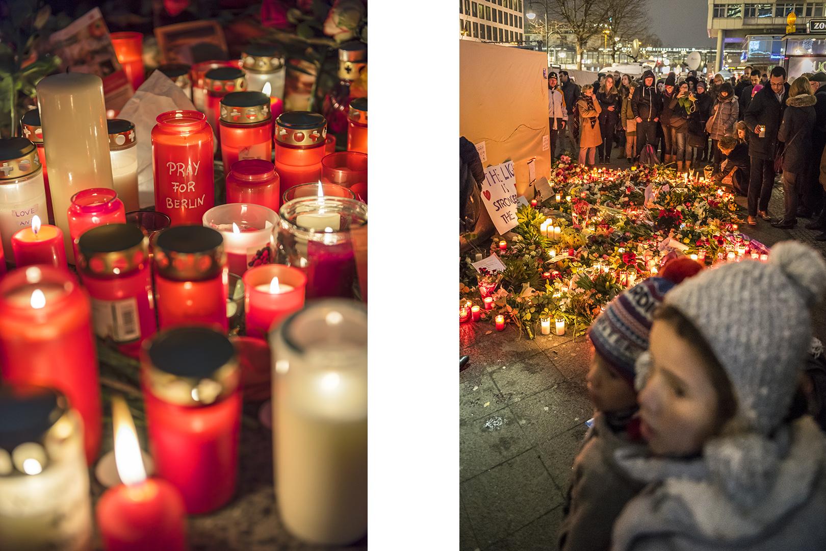Kerzen und Blumen am Abend nach dem Terroranschlag auf dem Weihnachtsmarkt am Breitscheidplatz. Berlin Charlottenburg, 20.12.2016